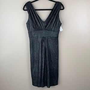 NWT Kay Unger black and silver sleeveless dress sz 10